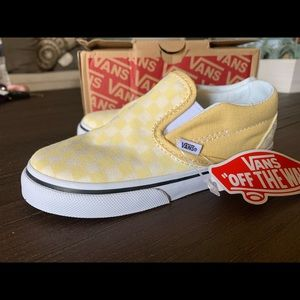 Yellow checkered slide on vans size 10